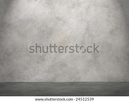 Concrete wall and ground plane with spotlight - stock photo