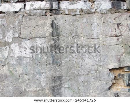 concrete wall cracked texture  - stock photo