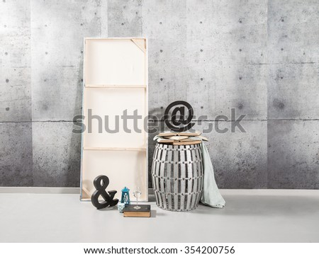 concrete wall interior style with symbol - stock photo
