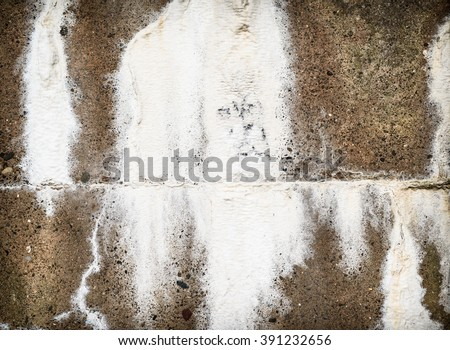Concrete wall with eEfflorescence salt seepage.
