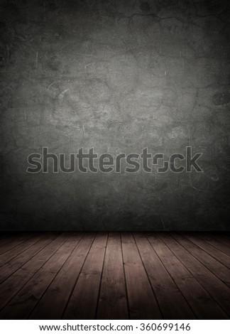 concrete wall with wooden floor. empty interior room. - stock photo