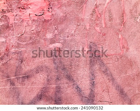 Concrete, weathered, worn, painted pink. Landscape style. Grungy Concrete Surface. Great background or texture. - stock photo