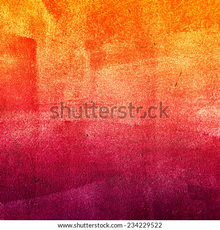 Concrete, weathered, worn, painted yellow, orange and burgundy. Grungy Concrete Surface. Great background or texture. - stock photo