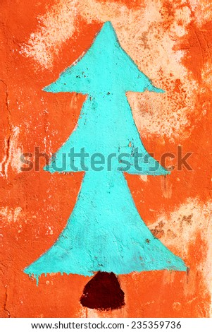 Concrete, weathered, worn wall Christmas tree. Grungy Concrete Surface. Great background or texture. - stock photo
