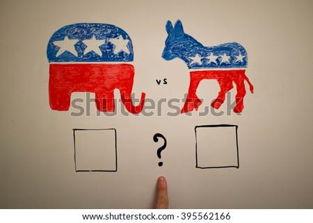 Concurrent politics concept. Democrats vs republicans elections. - stock photo