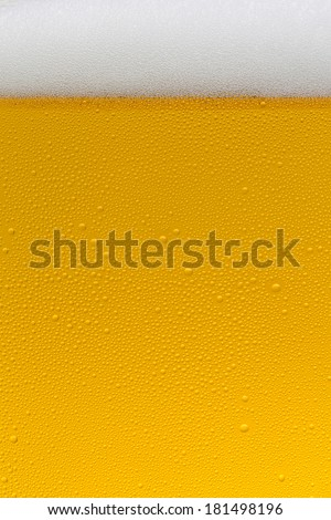 condensation drops on a beer glas with beerform