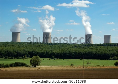 Condensation towers of a big nuclear power plant
