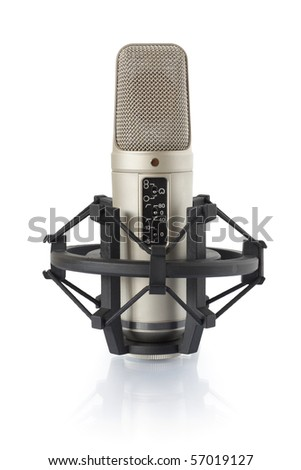Condenser microphone in holder, isolated on white - stock photo