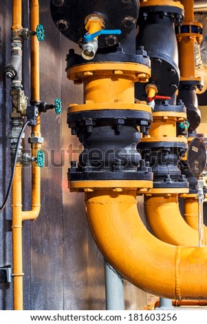 Condenser  water pipelines with pressure gauge and rubber connect , chiller water pipe and valves with pressure gauge , rubber connect, water pump - stock photo
