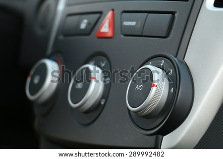 Conditioner and air flow control in a modern car - stock photo