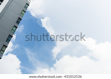 condo and sky-clouds background.