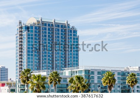 Condo Tower under blue skies in the tropics - stock photo