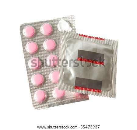 condom and pills. Sex Education theme - stock photo