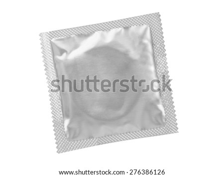 Condom - isolated on white background - stock photo