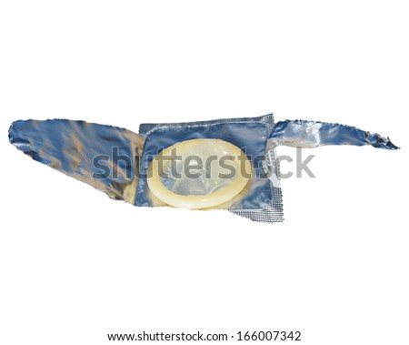 condom isolated on white with clipping path - stock photo