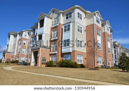 Condominium Garden Style Complex - stock photo