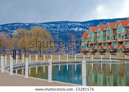 Condominium waterfront Okanagan lake in Kelowna, Canada. - stock photo