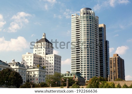 condominiums and university buildings in downtown Milwaukee, Wisconsin - stock photo