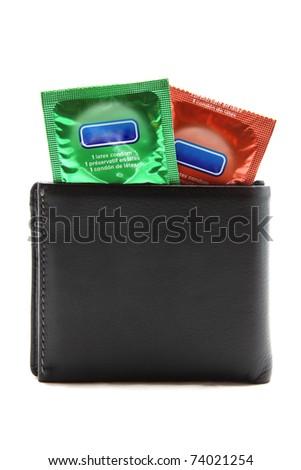 condoms in black wallet - stock photo