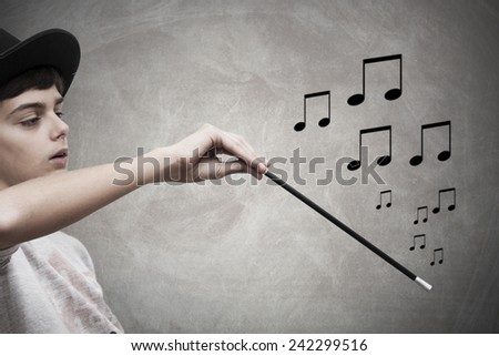 conductor and musical notes on background - stock photo