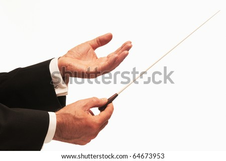 Conductor conducting an orchestra isolated on white background - stock photo