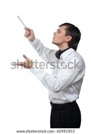 Conductor with stick isolated over white - stock photo