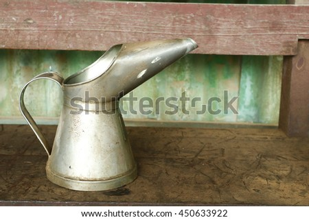 Cone fuel tank on tank two hundred liters. - stock photo