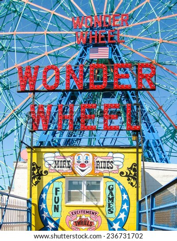CONEY ISLAND, NEW YORK, USA - April 12, 2009. Wonder Wheel at the Coney Island Amusement Park - stock photo