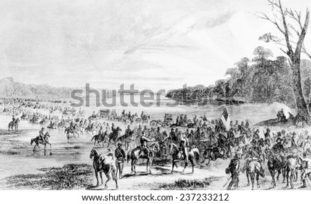 Confederate cavalry unit invading Union territory in Maryland and Pennsylvania, June 1 1, 1863.