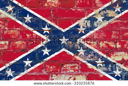 Confederate flag painted on old brick wall texture background