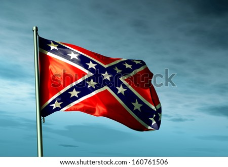 Confederate flag waving in the evening - stock photo