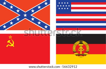 Confederate, old USA, USSR, and GDR flags. Raster - stock photo