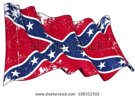 Confederate Rebel flag Scratched - stock photo