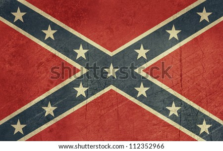 Confederate rebel grunge flag of southern America in official colors. - stock photo