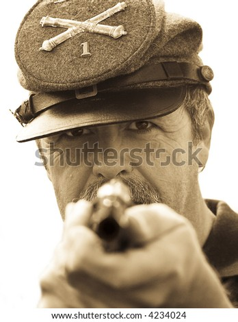 Confederate Soldier holds up Pistol., part of my American Civil War series - stock photo
