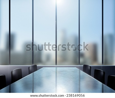 Conference desk in modern office with a great city view. - stock photo