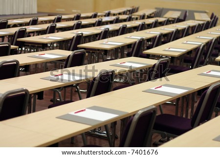Conference hall before business meeting - ready for auditory - stock photo