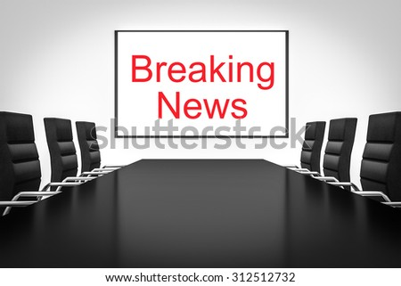 conference meeting room with large whiteboard breaking news - stock photo