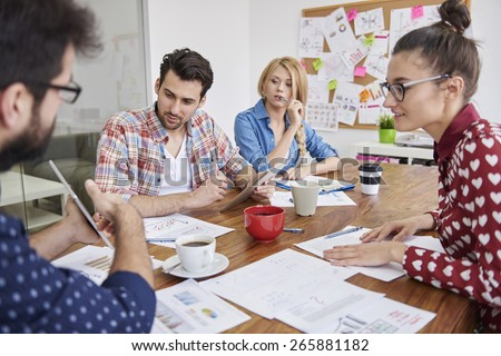 Conference of young and creative team - stock photo