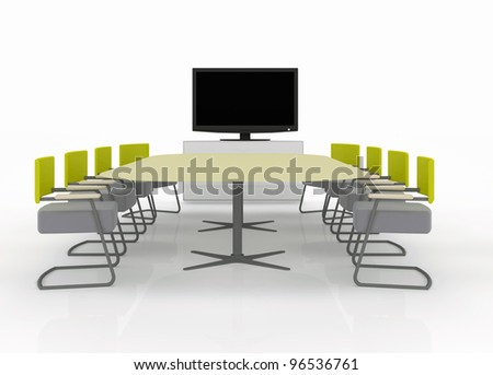 conference office desk with chairs and a TV set on a white background - stock photo