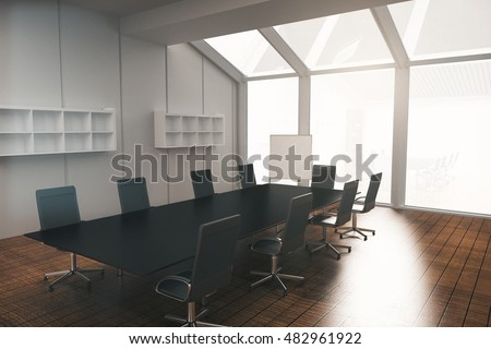 Conference room interior design with furniture, wooden floor, concrete walls, blank whiteboard and panoramic window with no view. 3D Rendering