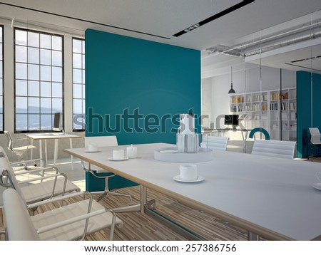 Conference room interior with a concret wall. 3d rendering - stock photo