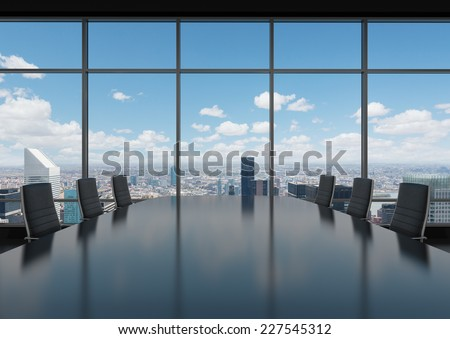 Conference room. Modern office with windows and city view.  - stock photo