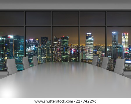 Conference room. Modern office with windows and city view. Night time.  - stock photo