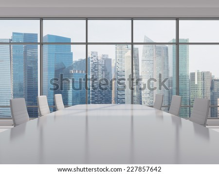 Conference room. Modern office with windows and city view. Singapore cityscape.  - stock photo