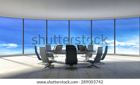 Conference room. Modern office with windows. 3d illustration - stock photo