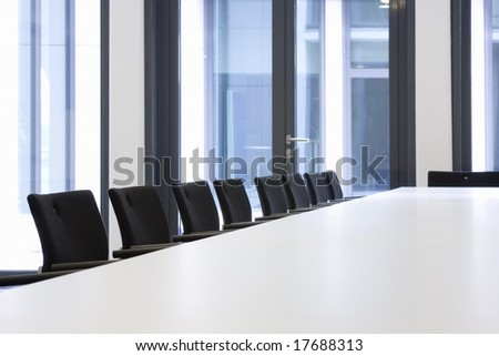 Conference room with black chairs - stock photo