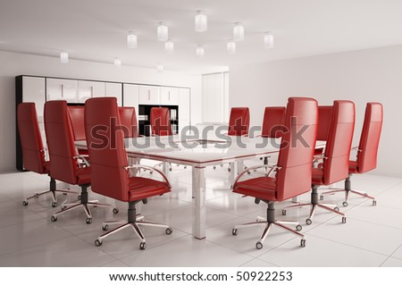 conference room with red armchairs interior 3d - stock photo