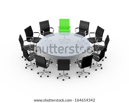 Conference round table and office chairs with copy space in meeting room, isolated on white background. - stock photo