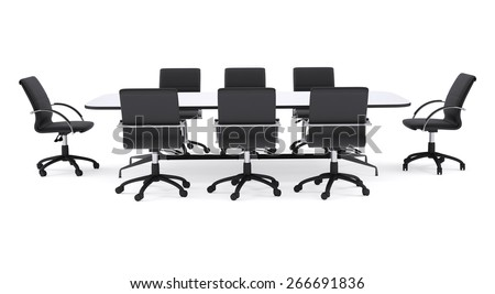 Conference table and black office chairs. Isolated render on white background - stock photo